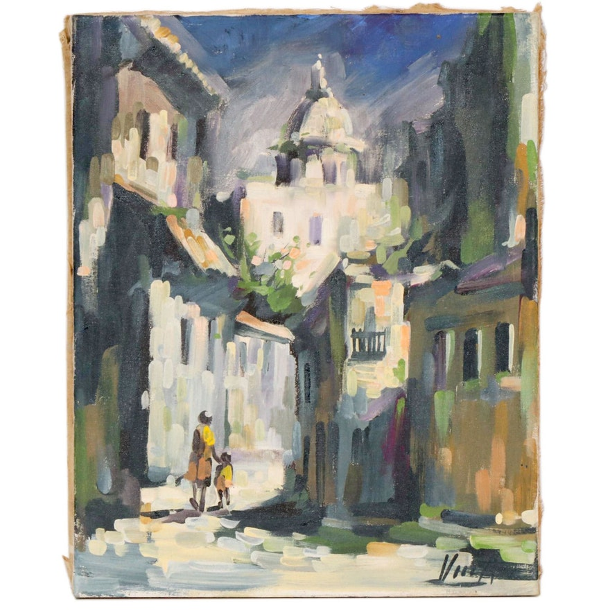 Impressionist Style European Street Scene Oil Painting, Mid to Late 20th Century