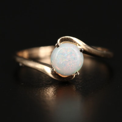 14K Round Opal Cabochon Bypass Ring