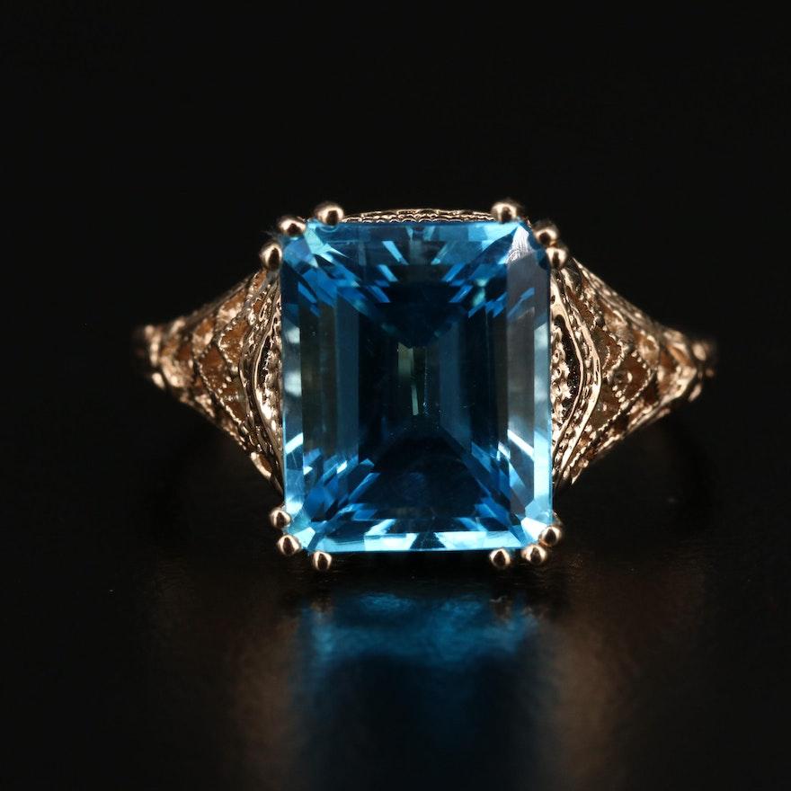 14K Antique Style Topaz Ring