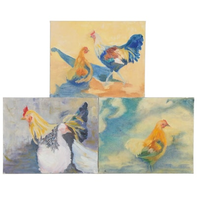 Kathryn Merrill Impressionist Style Chicken Themed Oil Paintings, 2005