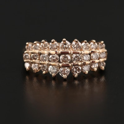 14K 1.00 CTW Triple Row Diamond Ring
