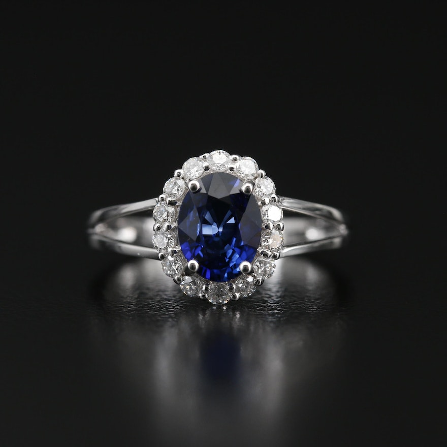 14K Sapphire Ring with Diamond Halo