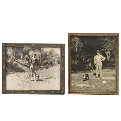 Silver Gelatin Photographs of Figures with Boston Terriers, Mid 20th Century