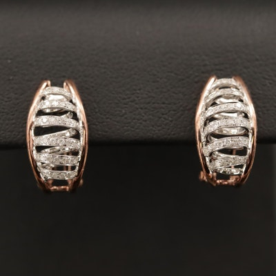14K Diamond Spiral Earrings