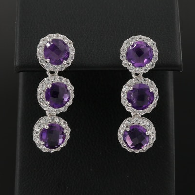 Sterling Silver Amethyst and Topaz Dangle Earrings