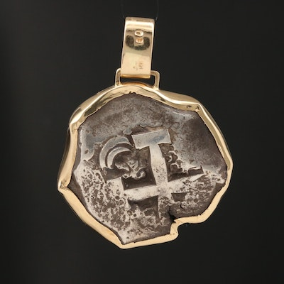 14K Pendant with 1767 Spanish 8-Reales Silver Cob Coin