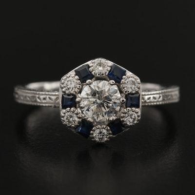 Platinum Diamond and Sapphire Cluster Ring