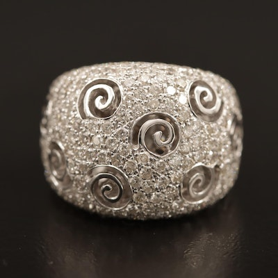 14K 3.00 CTW Pavé Diamond Domed Band with Swirl Motif