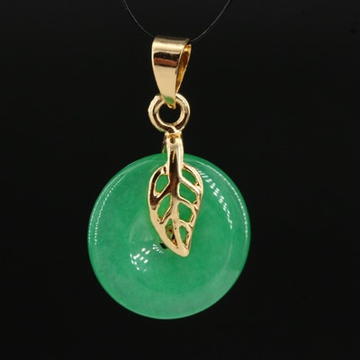 Bi Jadeite Leaf Motif Pendant