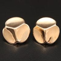14K Gold Button Earrings