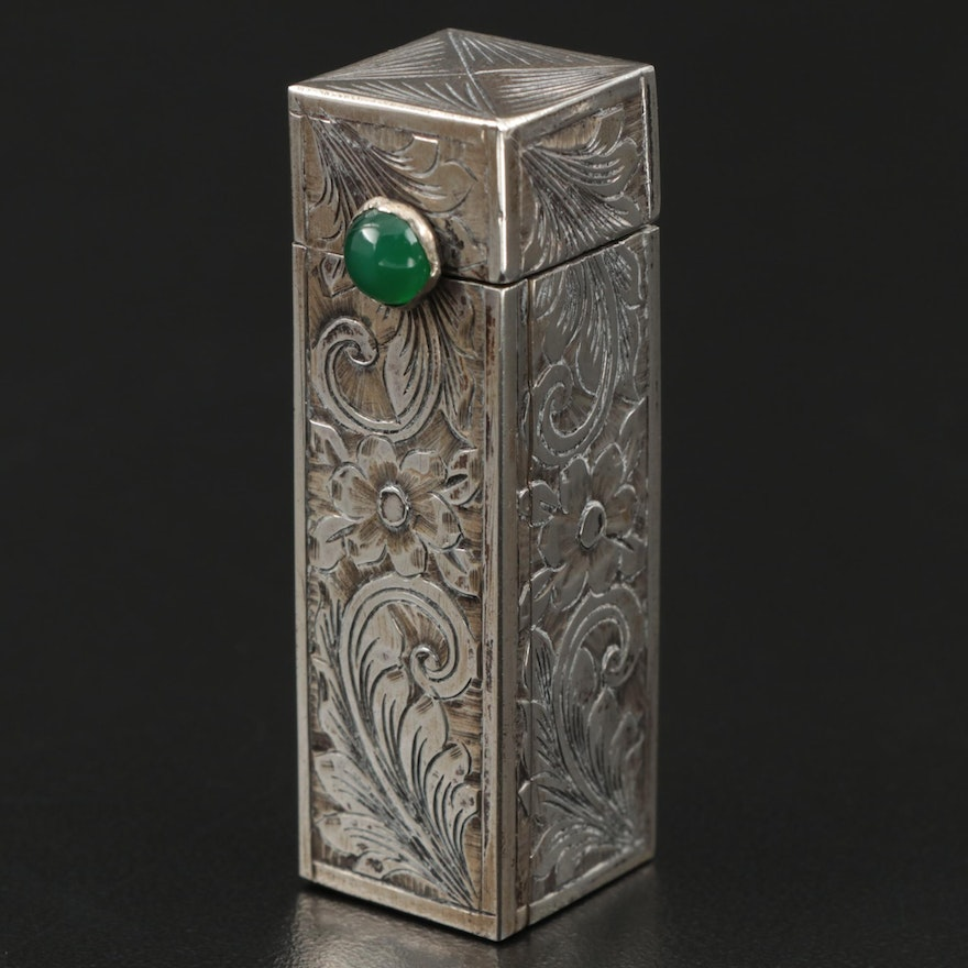 Hand Chased 800 Silver Lipstick Case, Late 19th/Early 20th Century