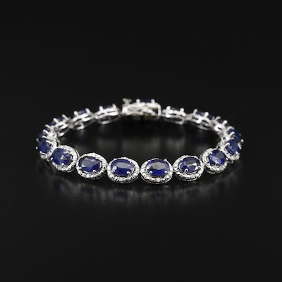Sterling Silver Corundum and Diamond Bracelet