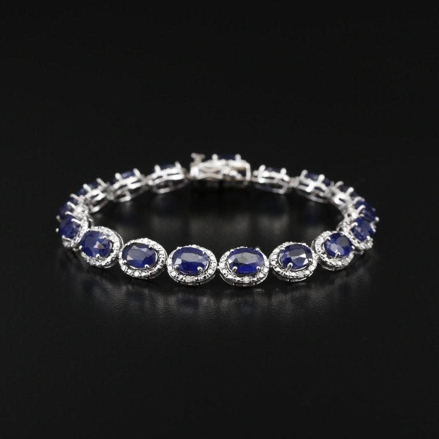 Sterling Silver Corundum and Diamond Bracelet