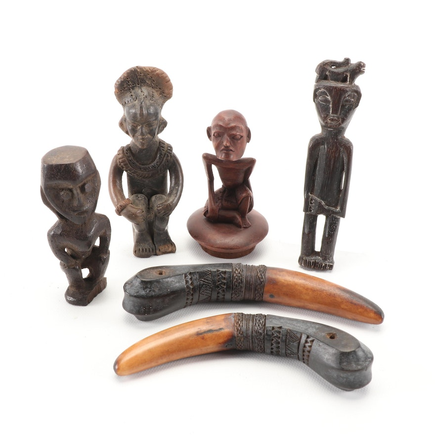 Asian Carved Ebony Figurines and Other Decor