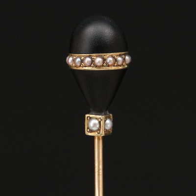 14K Seed Pearl Mourning Stick Pin