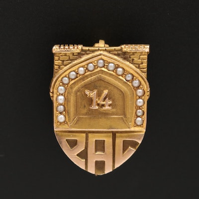 "Antique 14K Seed Pearl ""PAC"" Commemorative Pin"