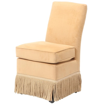 "Frontgate ""Marisa"" Rolling Vanity Chair in Bullion-Fringed, Gold Velvet"