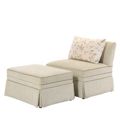 Contemporary Slipper Chair-and-a-Half with Ottoman