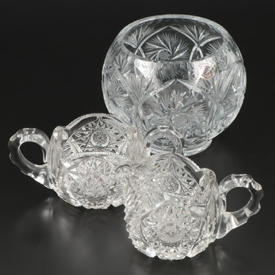 "Crystal Clear ""Monica Pinwheel"" Rose Bowl with Other Cut Crystal Tableware"