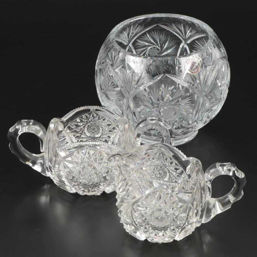 """Crystal Clear """"Monica Pinwheel"""" Rose Bowl with Other Cut Crystal Tableware"""