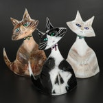 Paul Palango Kiln Art Fused Glass Cat Figurines