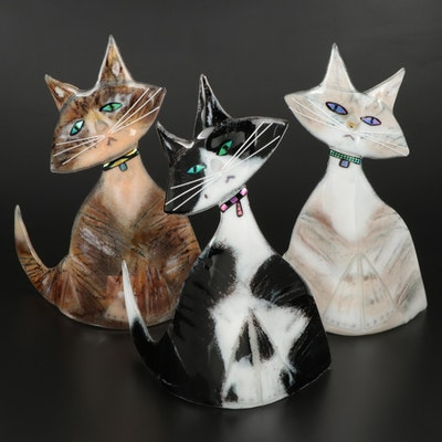 Paul Palango Kiln Art Fused Glass Cat Figurines