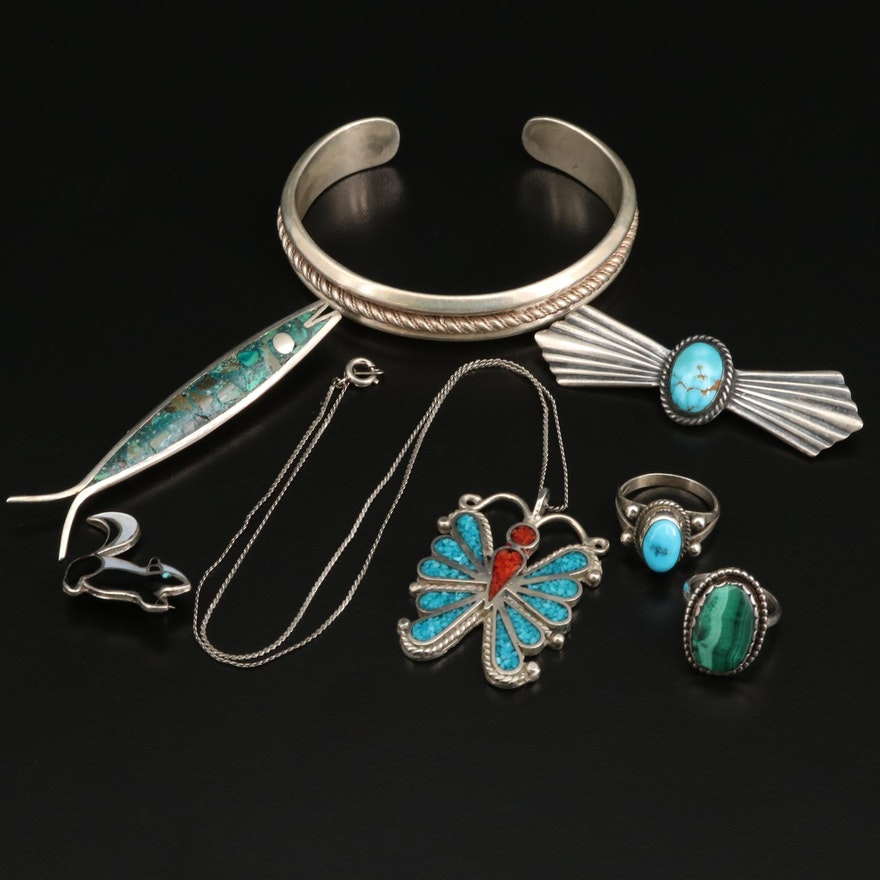 Collection of Jewelry Including Butterfly Pendant Necklace and Fish Brooch