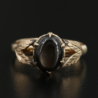 14K Black Star Sapphire Ring with Foliate Design
