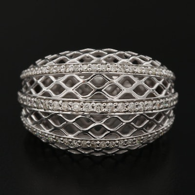 18K Diamond Woven Dome Ring