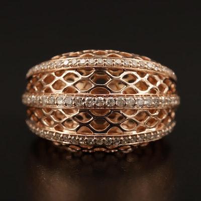 14K Diamond Mesh Motif Domed Ring