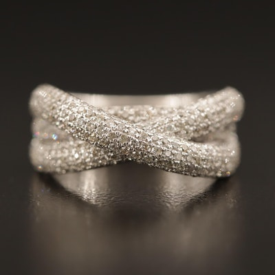 14K 1.65 CTW Diamond Pavé Set Crossover Ring