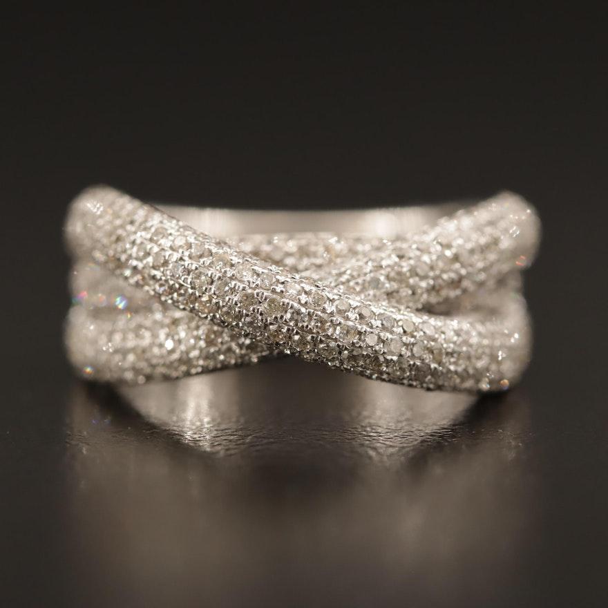 14K 1.65 CTW Diamond Pavé Set Crossover Ring