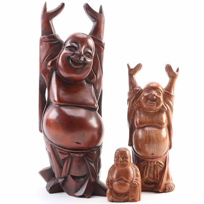Hand-Carved Laughing Buddha Wood and Resin Figurals, Late 20th century