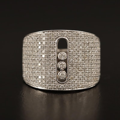 18K 1.75 CTW Pavé Diamond Ring with Floating Diamonds