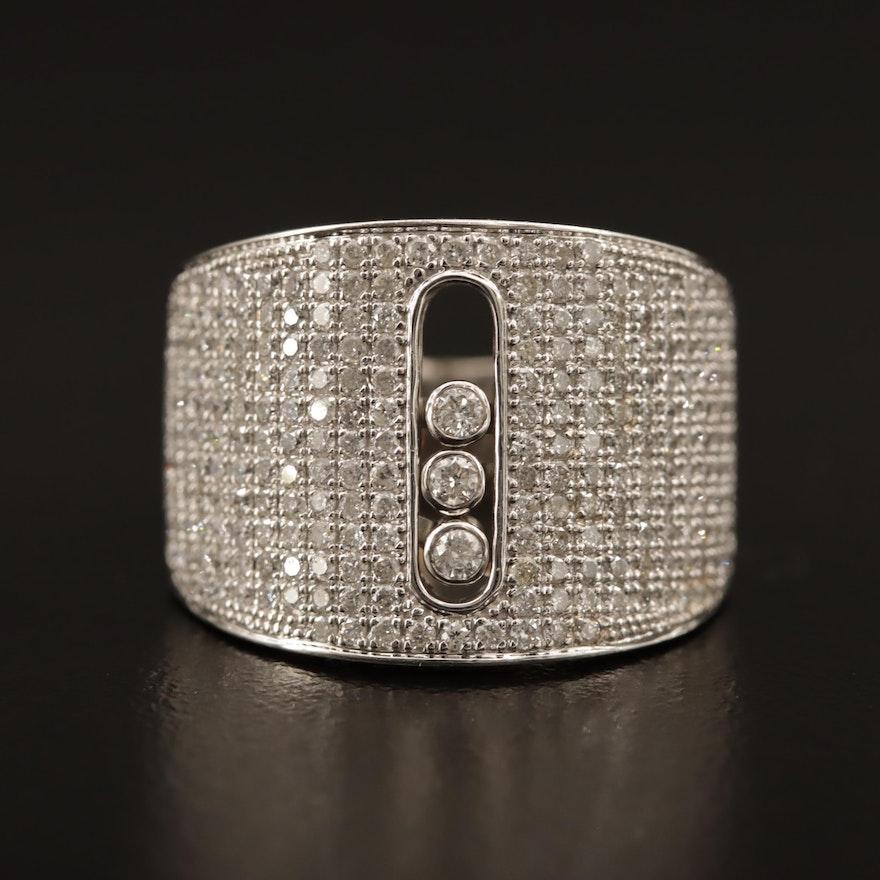 18K 1.75 CTW Pavé Diamond Ring with Floating Diamonds