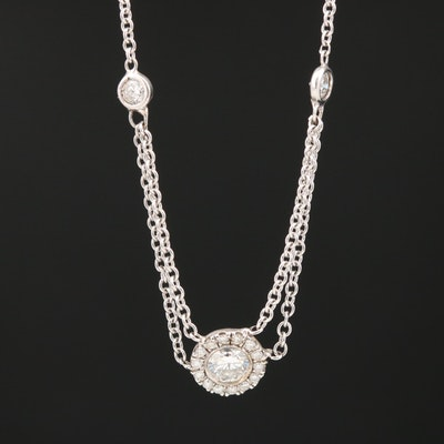 14K Diamond Festoon Cluster Necklace
