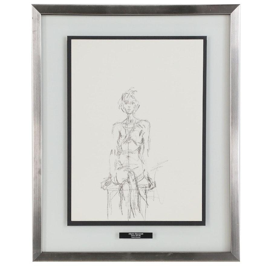 Alberto Giacometti Figural Lithograph for Derrière le Miroir, No. 156, 1961