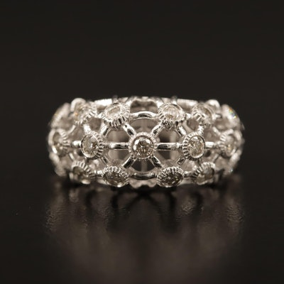 14K Diamond Latticed Domed Ring