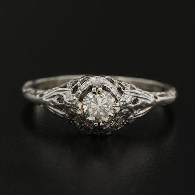 Antique 18K Diamond Filigree Ring