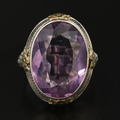 Vintage 14K Amethyst Ring with Floret Designs