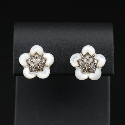 18K Diamond and Mother of Pearl Flower Earrings
