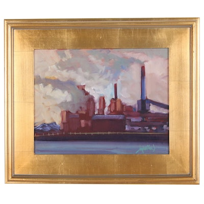 """Jay Wilford Industrial Landscape Oil Painting """"Mill Works"""""""
