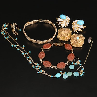 Assorted Goldstone Glass and Gemstone Jewelry Featuring Joseph Mayer Earrings
