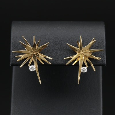 18K Starburst Diamond Stud Earrings