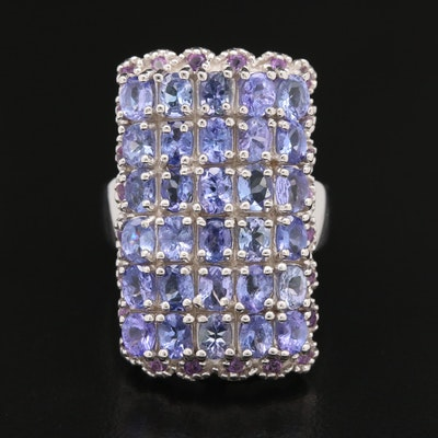 Sterling Tanzanite and Amethyst Ring with Scalloped Edge
