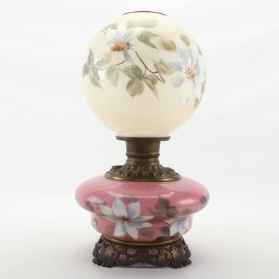 Hand-Painted Glass Electrified Oil Lamp