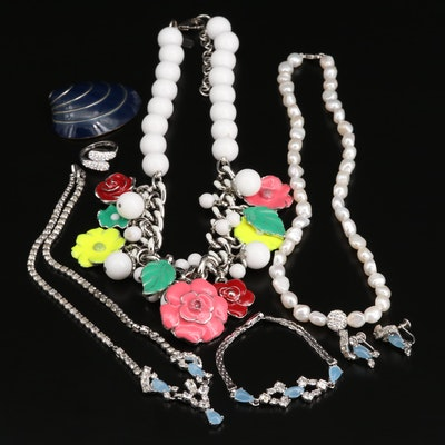 Assorted Pearl, Rhinestone, and Enamel Jewelry