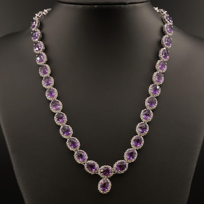 Sterling Amethyst and Topaz Necklace