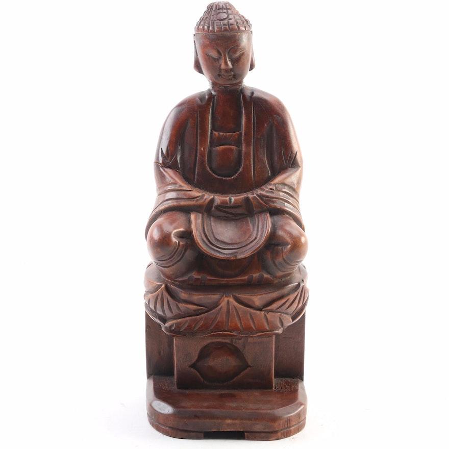 Decorative Wooden Bodhisattva Figural, Late 20th Century