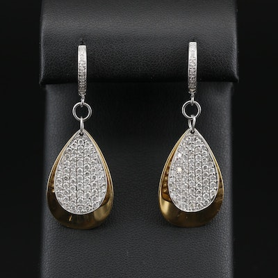 18K 2.18 CTW Diamond Dangle Earrings